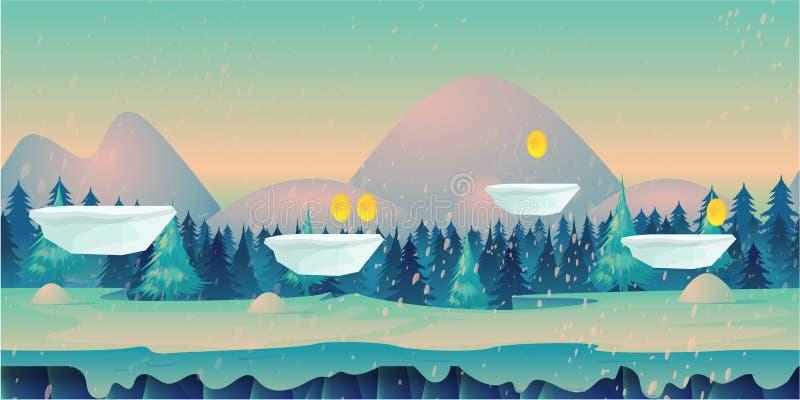 用不同的平台和被分离的层数的无缝的动画片自然冬天风景比赛的 向量例证