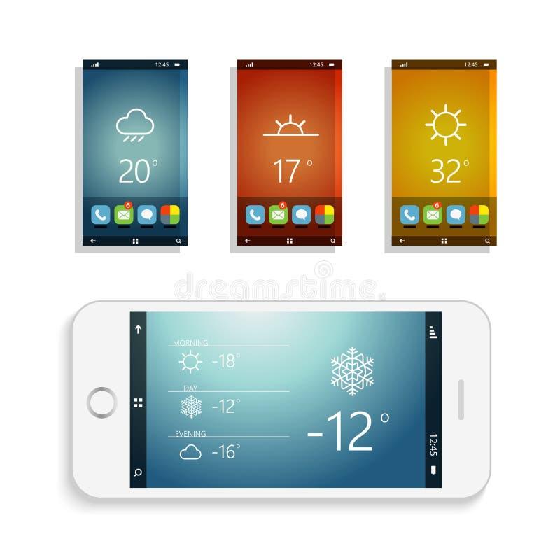 用不同的应用屏幕的现代智能手机 皇族释放例证
