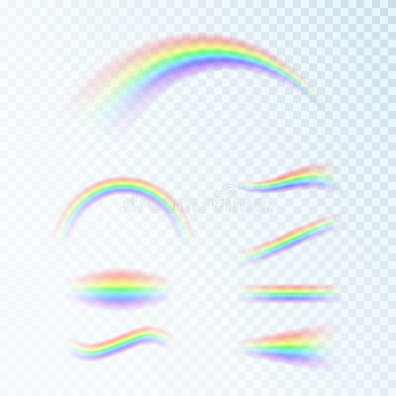 用不同的形状设置的彩虹 幻想艺术设计 光,七种颜色光谱  r 皇族释放例证
