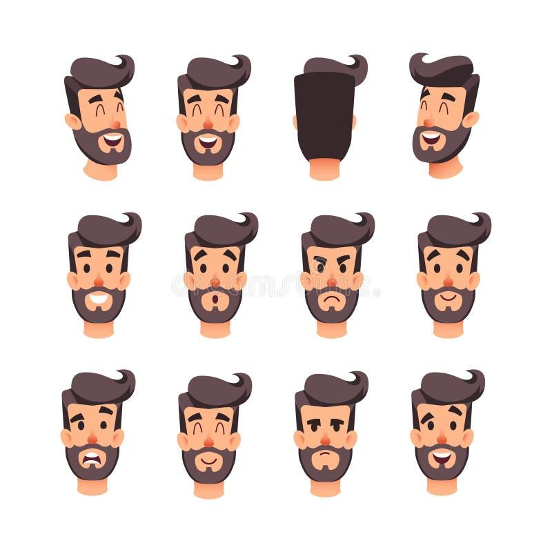 用不同的情感的人s头 动画片传染媒介男性面对字符集 比赛或动画的面部情感 backarrow 向量例证
