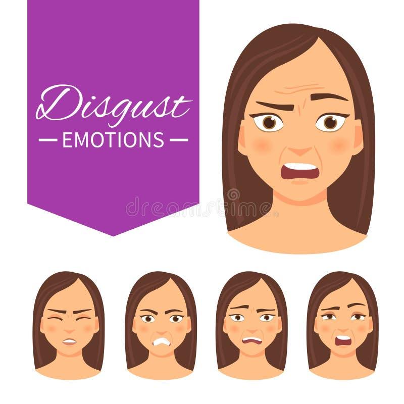 用不同的情感的妇女 向量例证