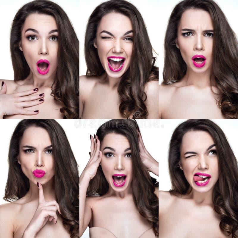 用不同的情感的美丽的妇女画象在面孔 免版税库存照片