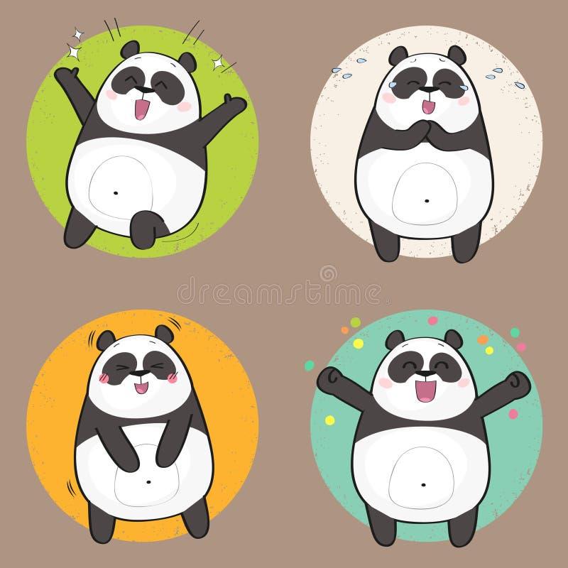 用不同的情感的逗人喜爱的熊猫字符 幸福 向量例证