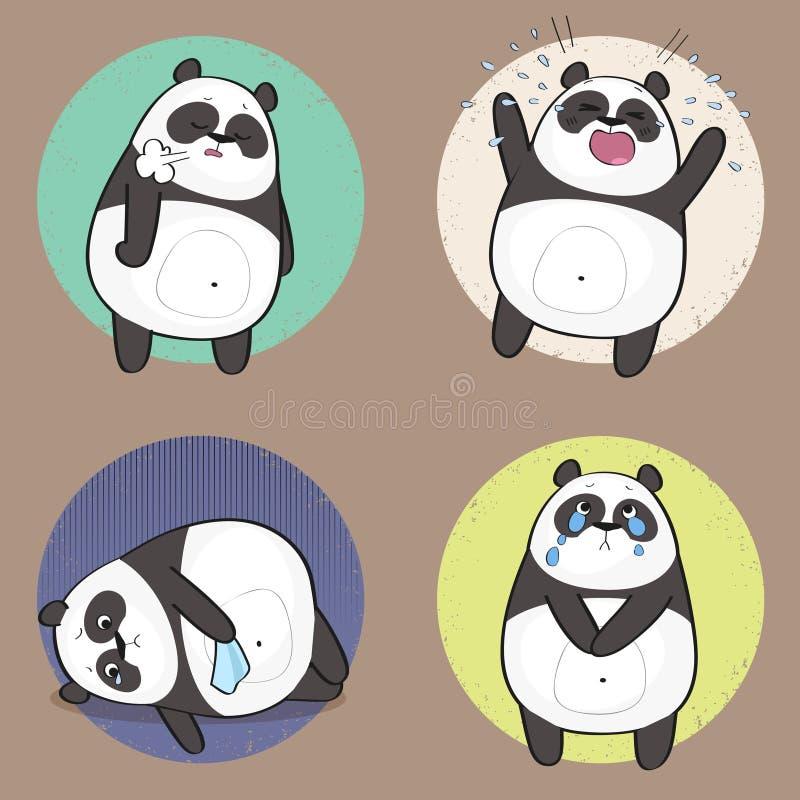 用不同的情感的逗人喜爱的熊猫字符 悲伤 皇族释放例证