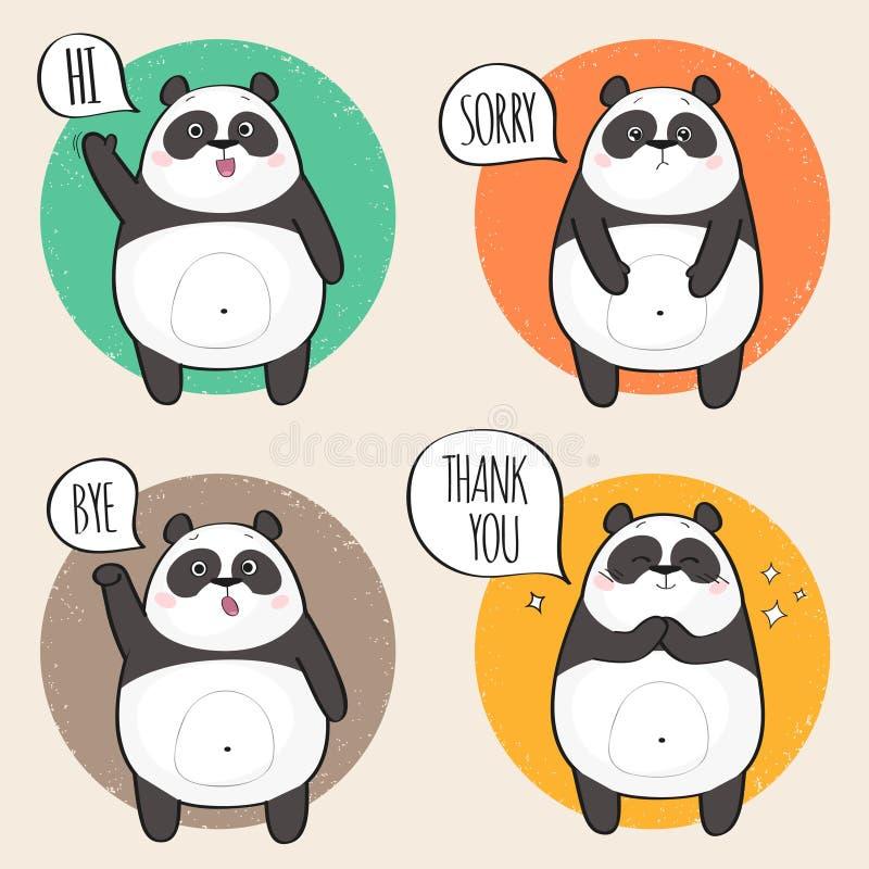 用不同的情感的逗人喜爱的熊猫字符 向量例证