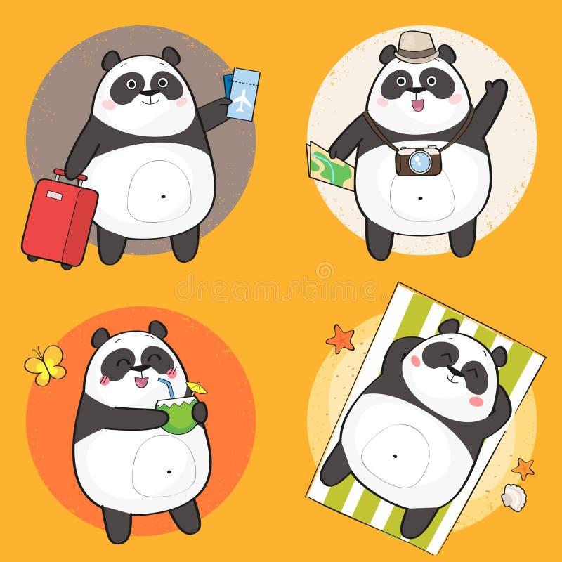 用不同的情感的逗人喜爱的熊猫字符 皇族释放例证
