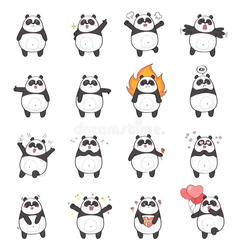 用不同的情感的逗人喜爱的熊猫字符 库存例证