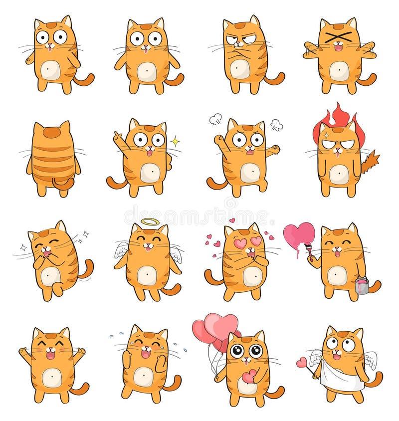 用不同的情感的逗人喜爱的猫字符 向量例证