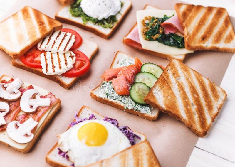 用不同的成份的六个三明治 图库摄影