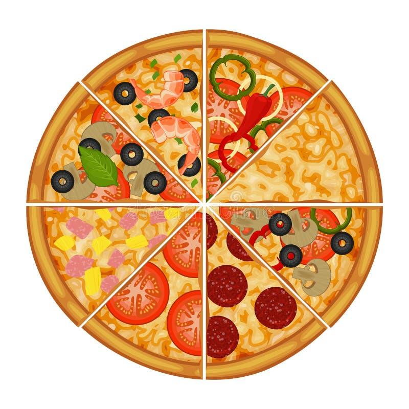用不同的成份的比萨 包装的对象 皇族释放例证