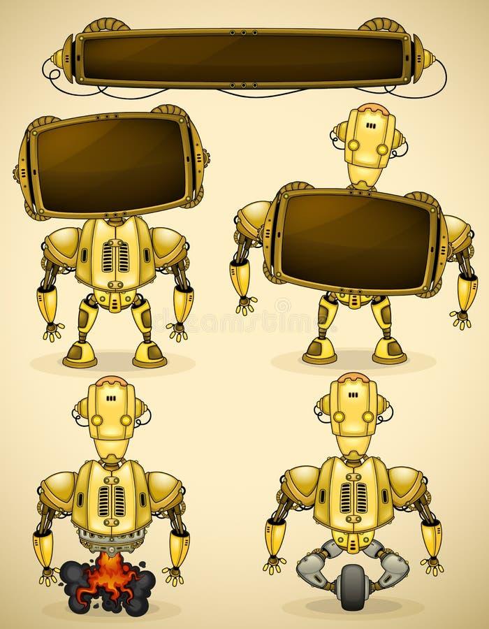 黄色葡萄酒机器人设备 向量例证