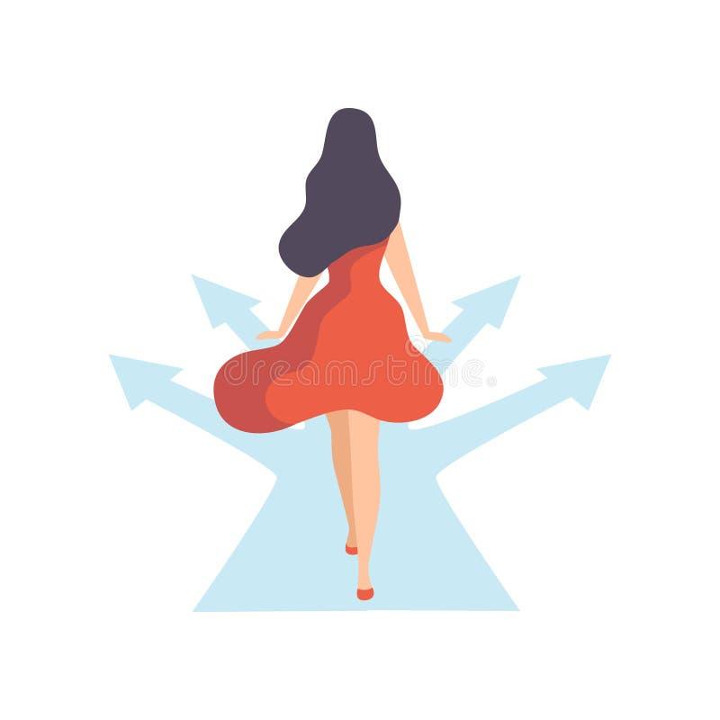 用不同的方向的妇女走的路,后面看法,平等,自由,民权,独立传染媒介 库存例证