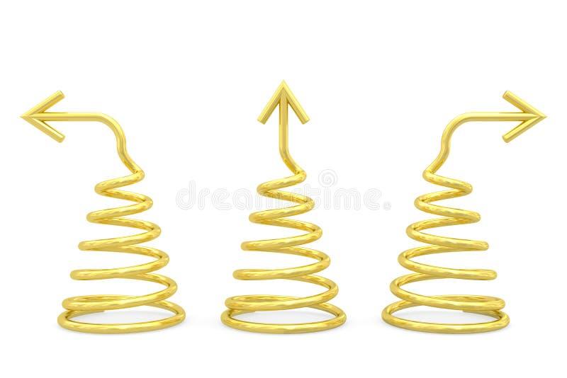 用不同的方向箭头的金黄螺旋在白色 库存图片