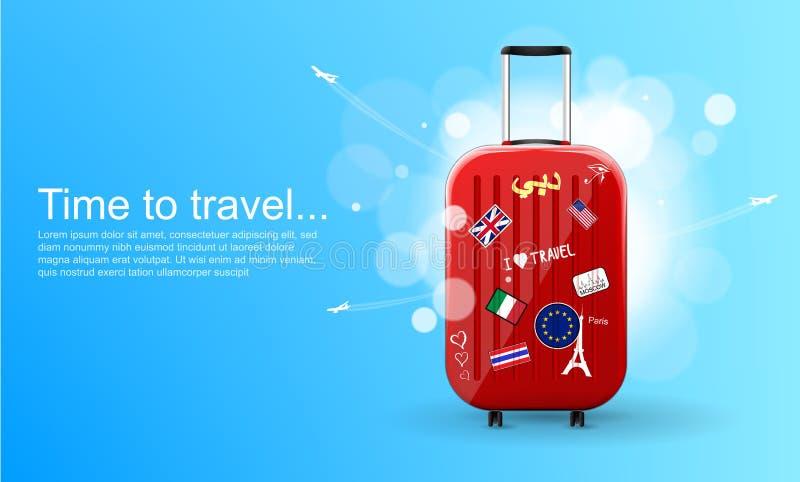 用不同的旅行纪念品的塑料旅行包 E 旅行的横幅模板 r 皇族释放例证