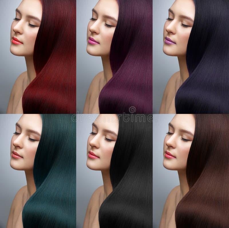 用不同的染发剂颜色的美丽的女孩 库存图片