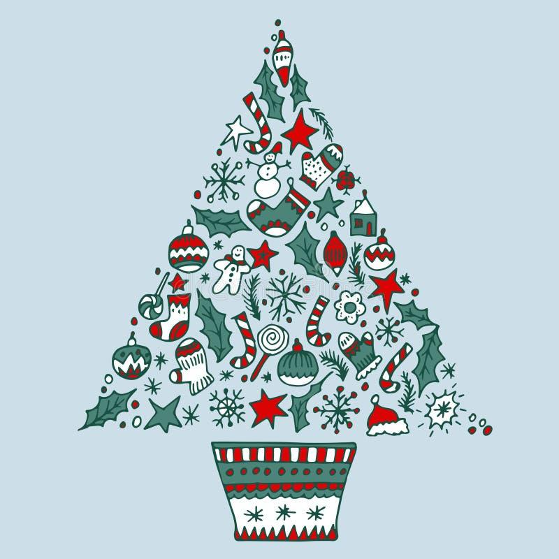 用不同的标志的圣诞树 皇族释放例证