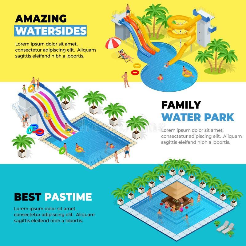 用不同的水滑道、家庭水公园、小山管和水池等量传染媒介的Aquapark水平的网横幅 向量例证