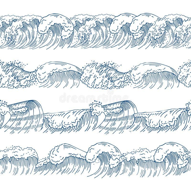 用不同的海浪的水平的无缝的样式 被设置的手拉的图片 皇族释放例证
