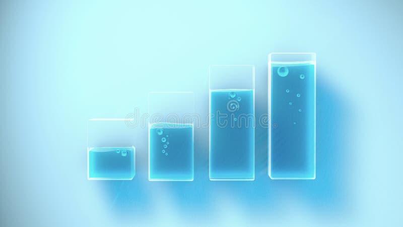 用不同的液面的几个容器 3d翻译 皇族释放例证