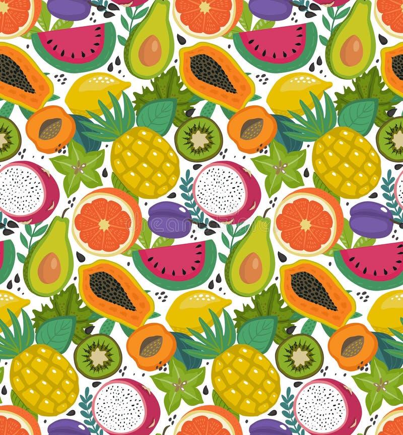 用不同的热带异乎寻常的果子和brries的传染媒介无缝的样式在平的简单的样式 库存例证