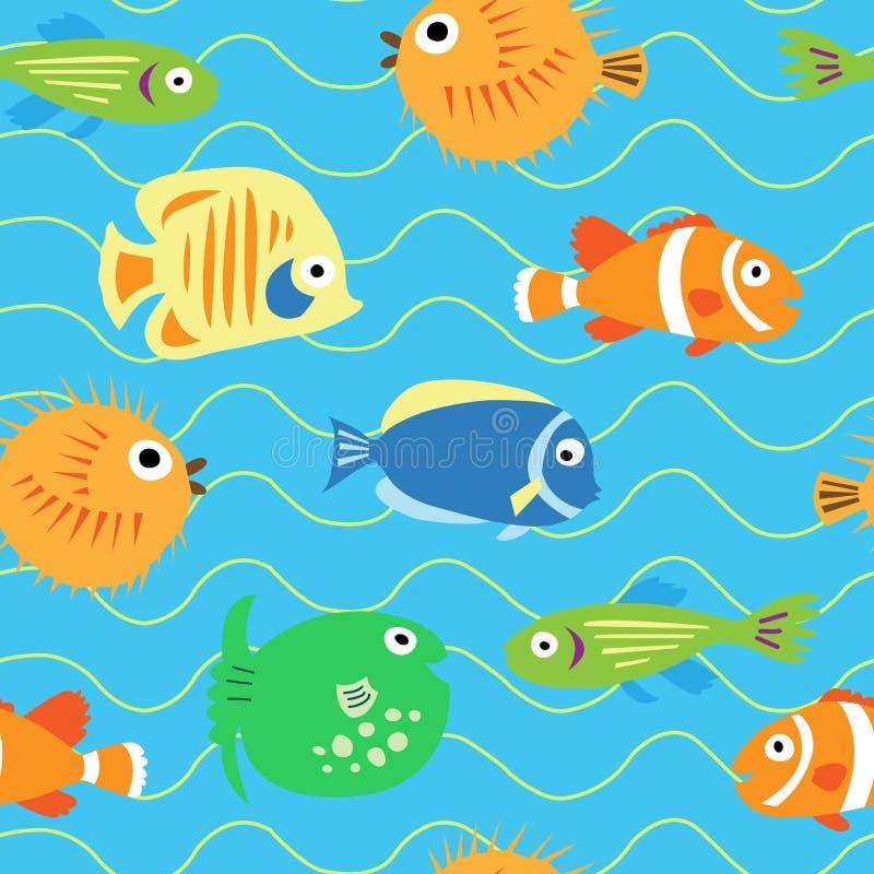 用不同的热带鱼的无缝的逗人喜爱的样式 皇族释放例证