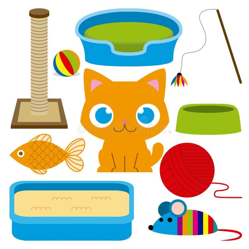 用不同的玩具和元素的动画片可爱的猫 皇族释放例证