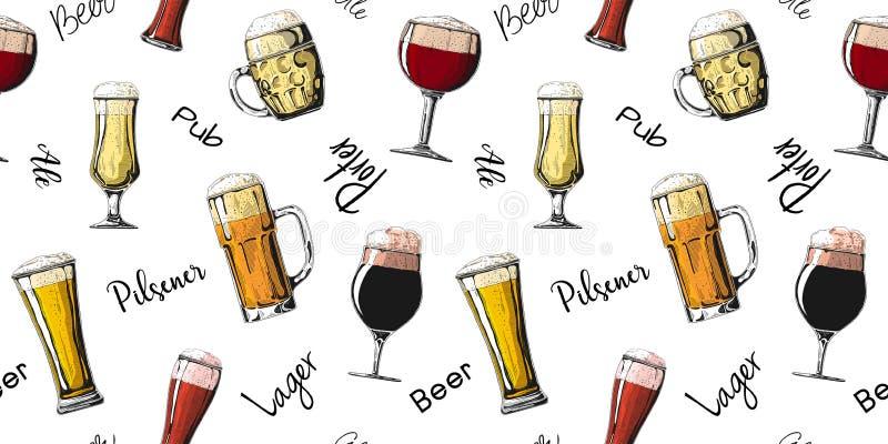 用不同的玻璃用啤酒,不同的杯子的无缝的样式啤酒 r 免版税图库摄影