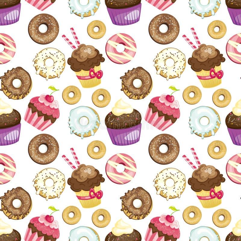 用不同的甜点和点心的无缝的背景 铺磁砖的油炸圈饼和杯形蛋糕样式 逗人喜爱的包装纸纹理 库存例证