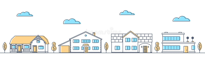 用不同的生存房子的街道 村庄连续 皇族释放例证