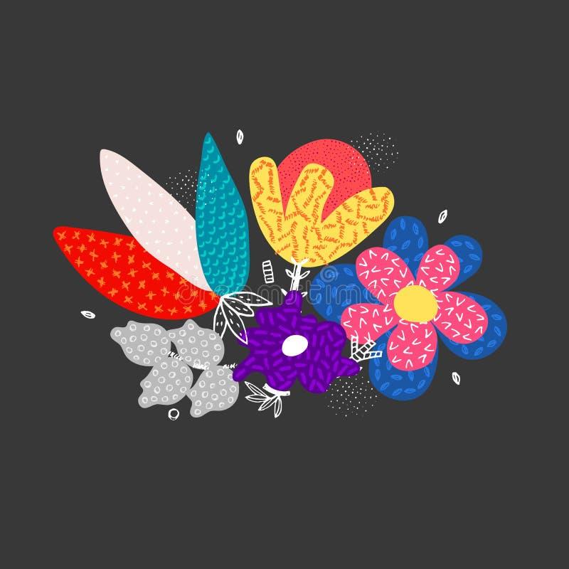 用不同的纹理的传染媒介抽象手拉的花 所有所有构成要素花卉例证各自的对象称范围纹理导航 徒手画的样式 向量例证