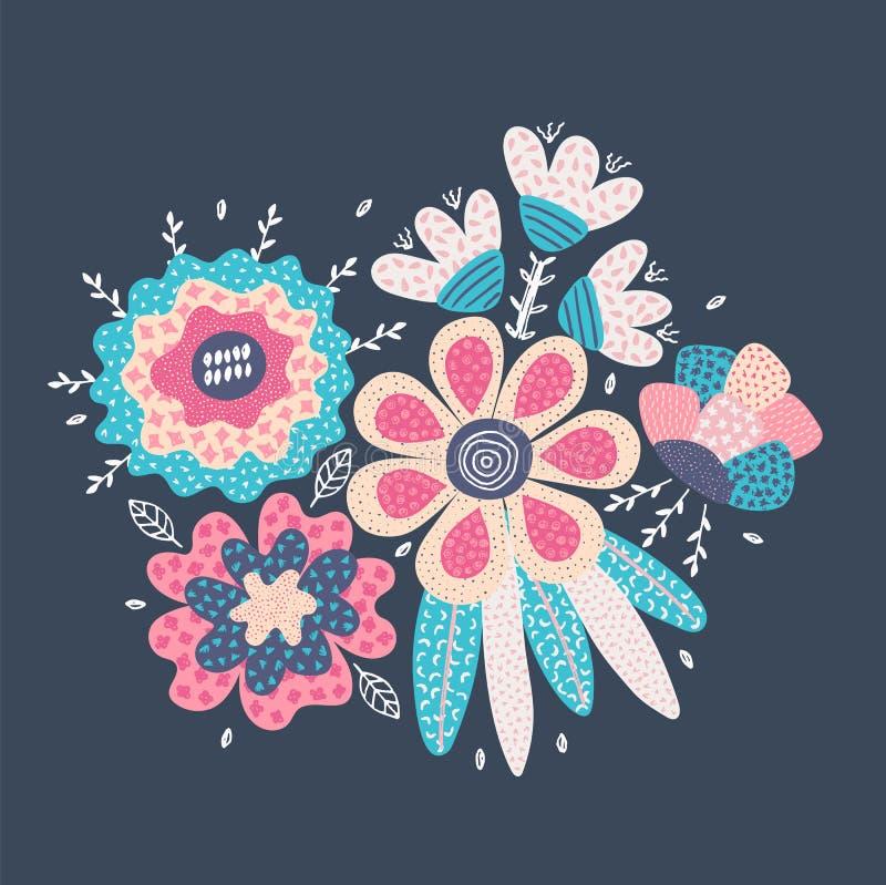 用不同的纹理的传染媒介抽象手拉的花 所有所有构成要素花卉例证各自的对象称范围纹理导航 徒手画的样式 库存例证