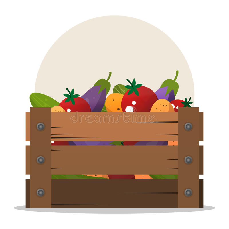 用不同的菜的木箱 套产品 向量例证