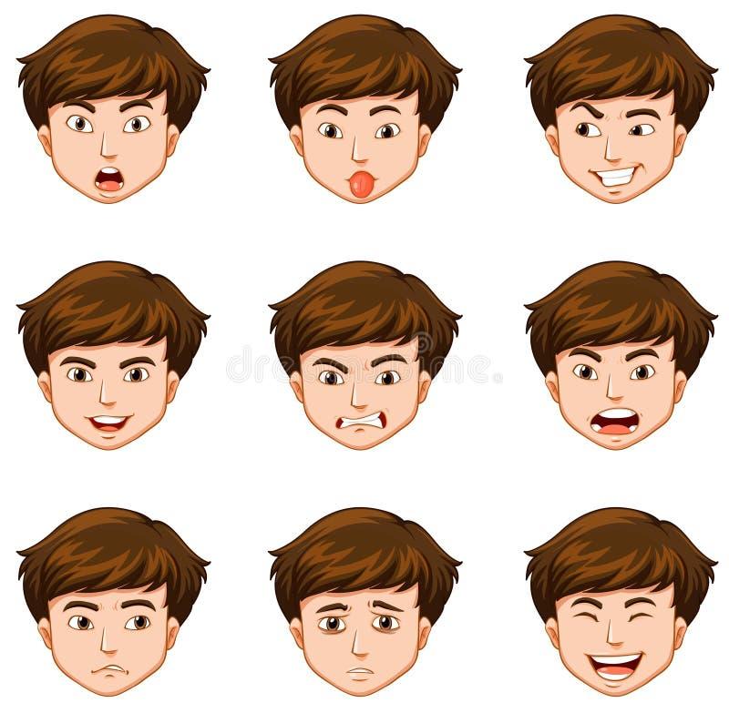 用不同的表情的人 向量例证