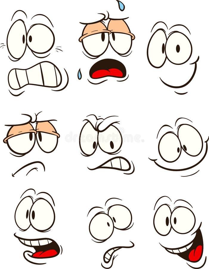 用不同的表示的动画片面孔 皇族释放例证
