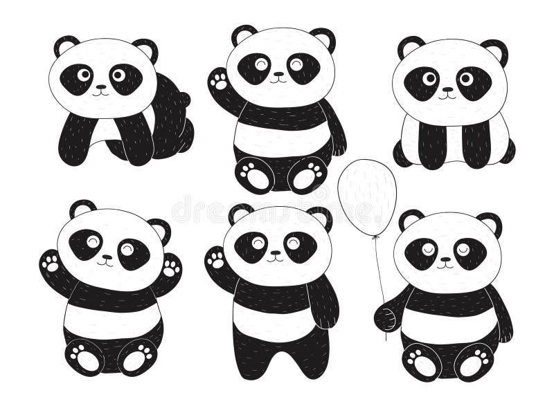 用不同的表示的手拉的六只逗人喜爱的熊猫 皇族释放例证
