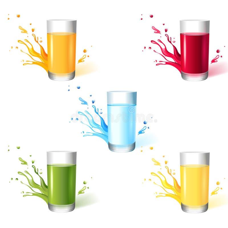 用不同的饮料的玻璃 向量例证