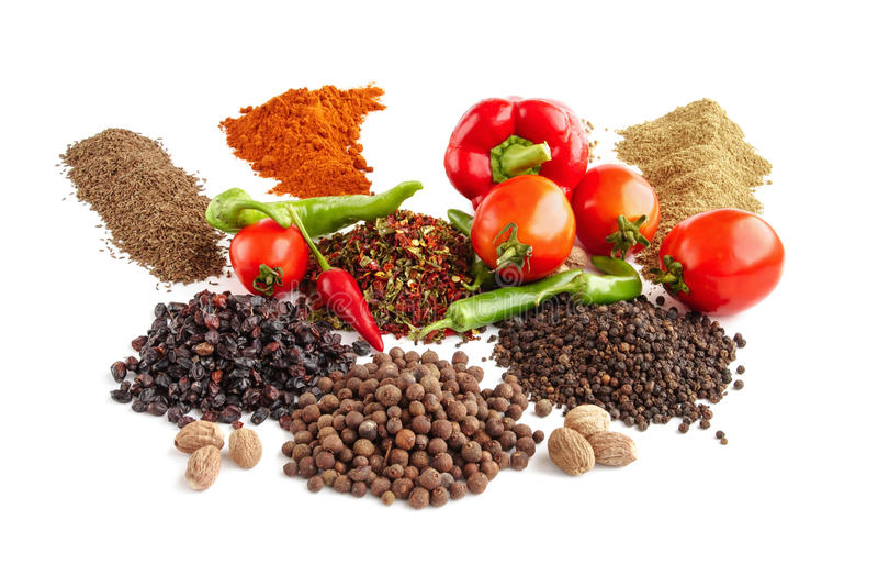 用不同的香料和种子的构成 免版税库存照片