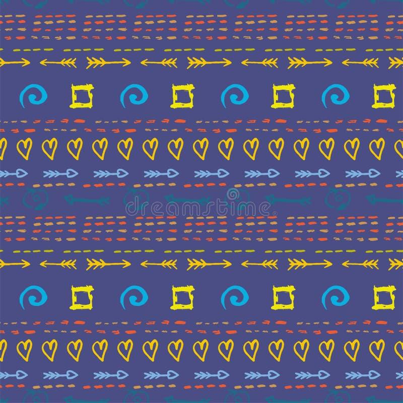 用不同的水彩元素的无缝的样式在蓝色背景 手拉的向量例证 皇族释放例证