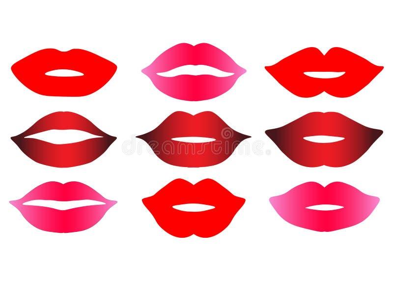 用不同的lipstic颜色上色的网女性嘴唇隔绝了例证 向量例证
