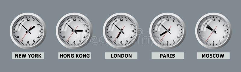 用世界不同的城市显示时间的委员会 皇族释放例证