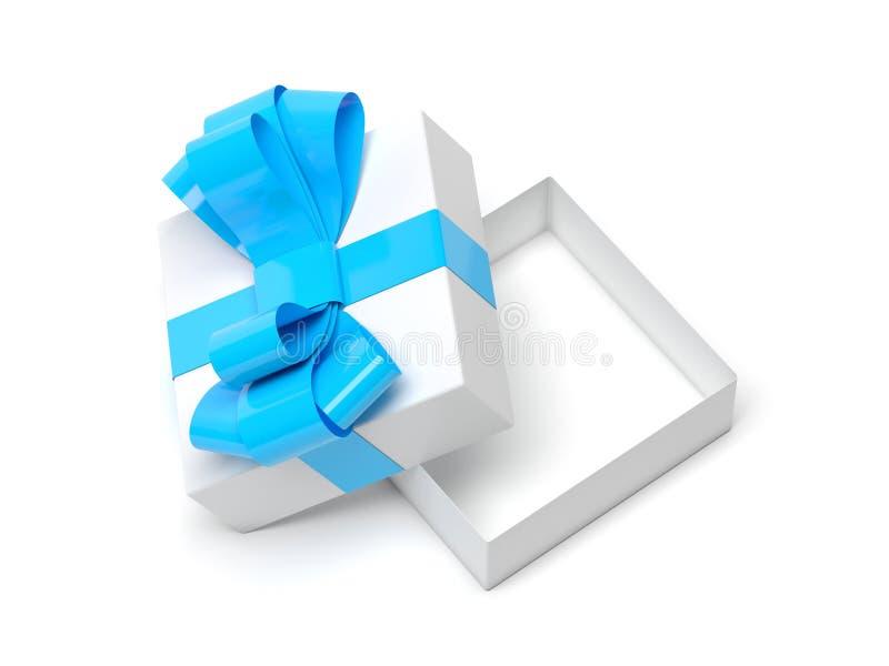 用丝带装饰的礼物盒 有蓝色弓的开放空的容器 皇族释放例证