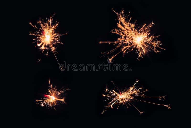 用于仪式的黑轻的计算机图表 设置闪烁发光物圣诞节和新年晚会在冬天欢迎到2018年 图库摄影