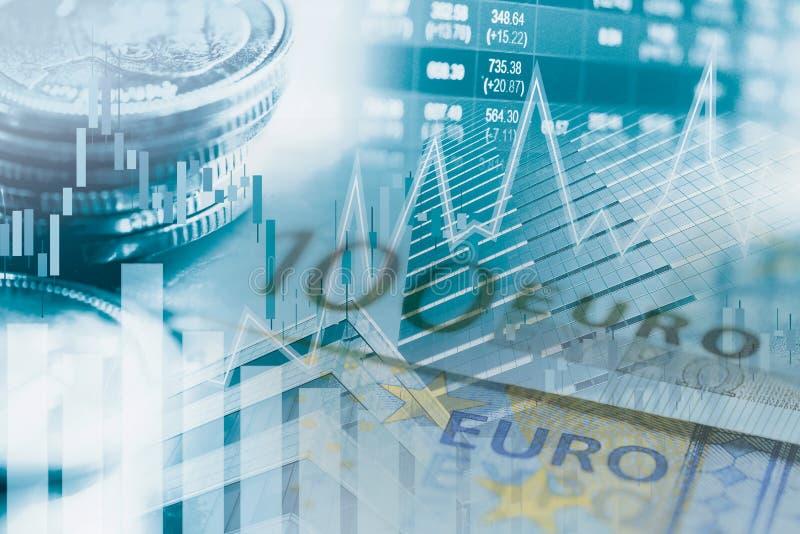 用于分析利润金融业务趋势数据的股市投资交易金融、投币和图表或外汇 库存图片