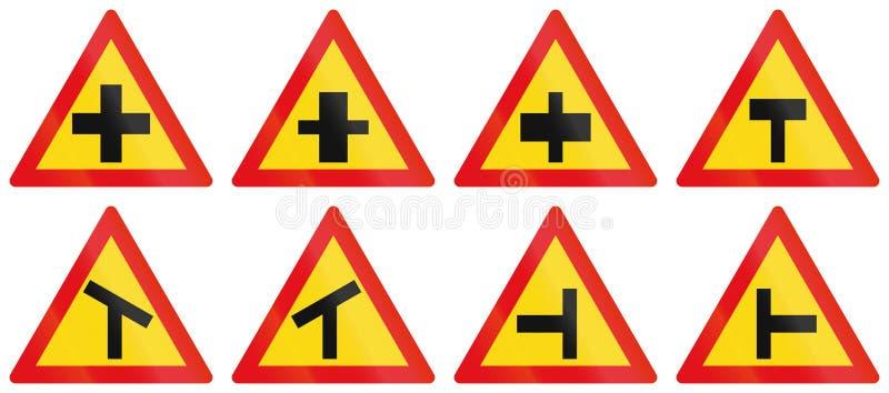用于博茨瓦纳的警告路标的汇集 库存例证