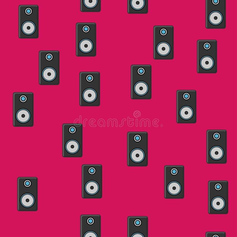 用于播放音乐曲目、音乐曲调、技术的无缝图案、现代音乐黑扬声器的质地,以及与紫色隔绝的技术 库存例证