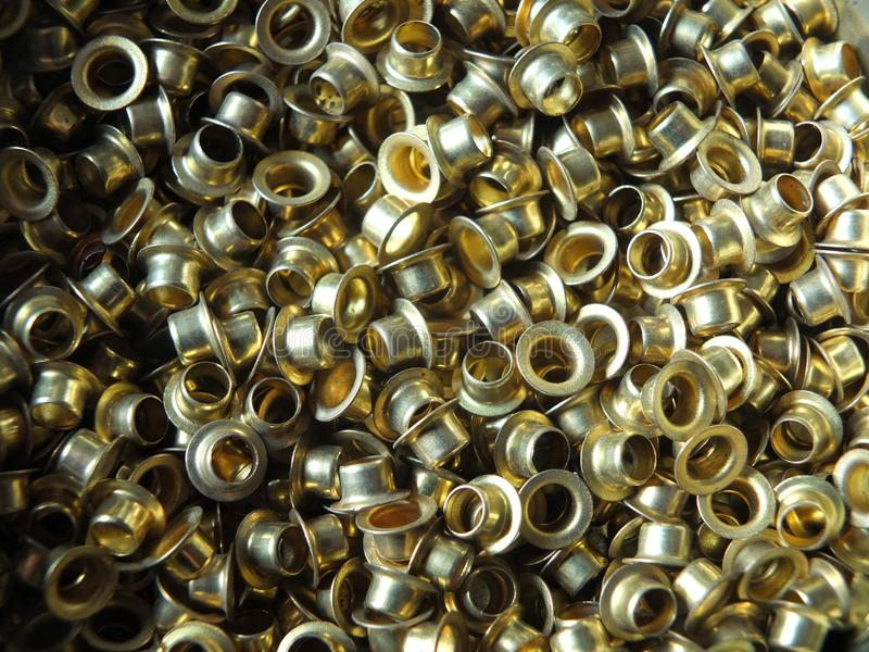 用于时尚和皮革的黄铜圆葡萄酒小孔运作 库存图片
