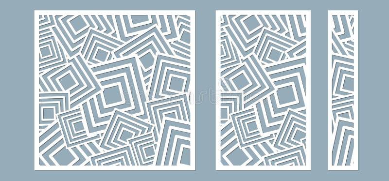 用于装饰表面对准的组、面板 线条、面板的抽象平方 激光切割的矢量图 皇族释放例证