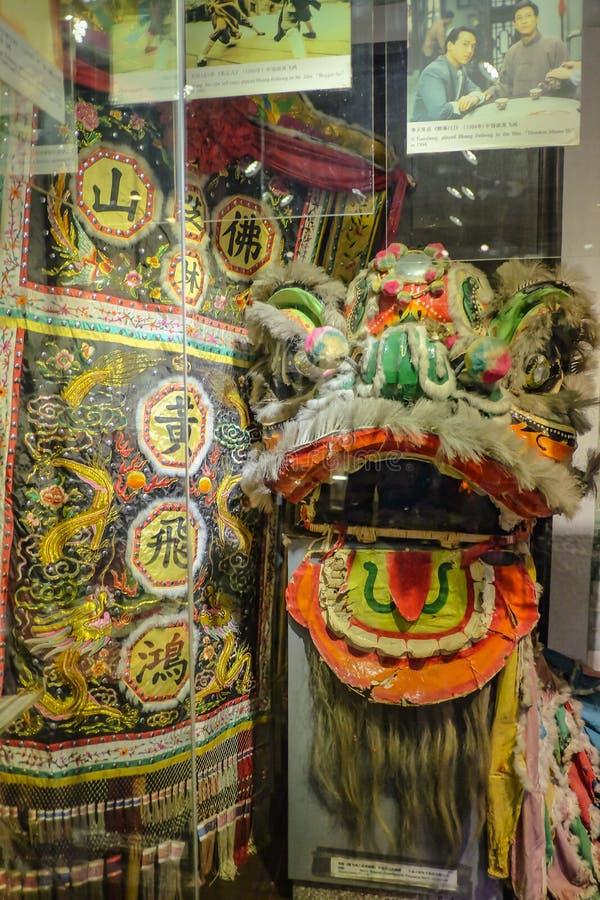 用于黄飞鸿电影的中国狮子头在黄飞鸿纪念堂 夫斯汉市瓷 免版税库存图片
