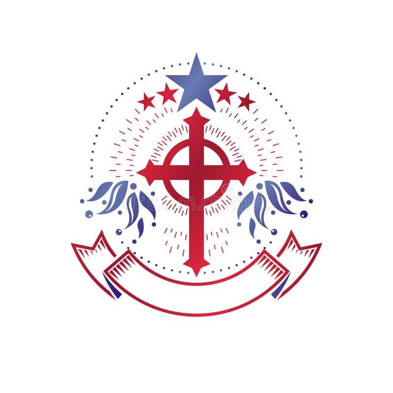 用五角形星和花饰创造的基督徒发怒哥特式象征 装饰商标被隔绝的纹章学徽章 向量例证