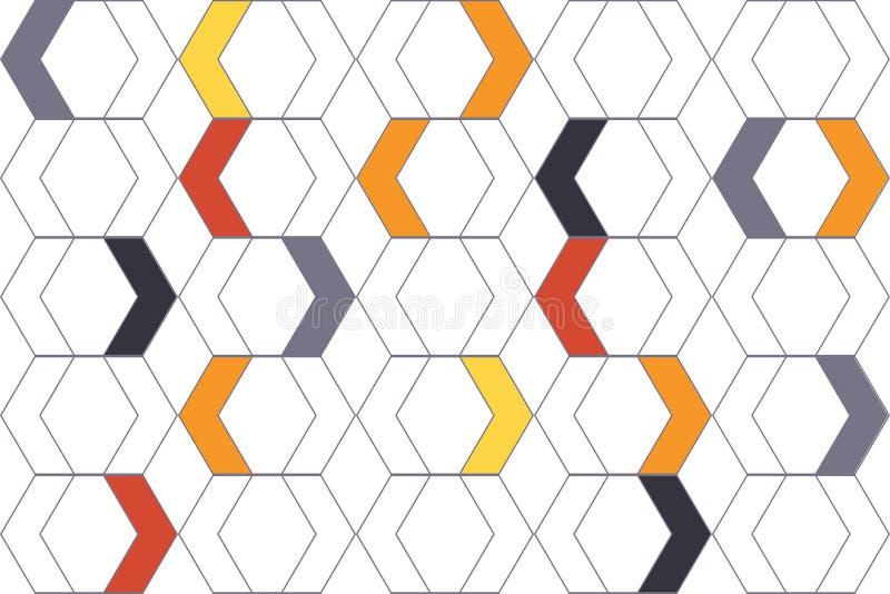 用五颜六色的V形臂章形状做的无缝,抽象背景样式 向量例证